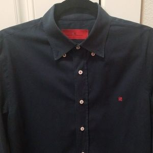 Carolina Herrera Navy Mens Button Up